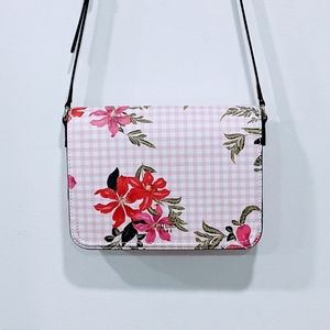 Guess Pink Gingham Floral Print Crossbody …